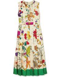 f1dce1f581c Gucci - Pleated Floral-print Silk Midi Dress - Lyst