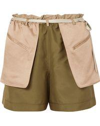 Valentino - Layered Silk-crepe And Hammered-satin Shorts - Lyst