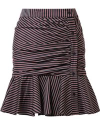 Veronica Beard - Ruched Striped Cotton Mini Skirt - Lyst