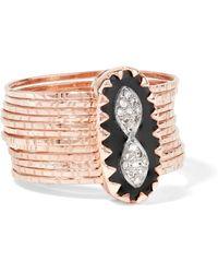 Pascale Monvoisin - Bowie N°1 9-karat Rose Gold, Bakelite And Diamond Ring - Lyst