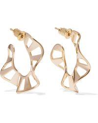 Arme De L'Amour - Stripe Ruffle Gold-plated Earrings - Lyst