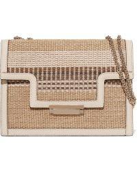 Aerin - Leather-trimmed Striped Straw Shoulder Bag - Lyst
