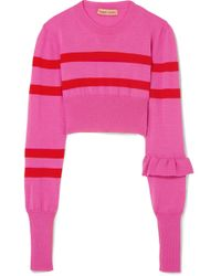 Maggie Marilyn - The Believer Cropped Striped Merino Wool Sweater - Lyst