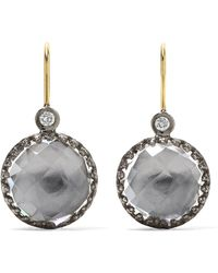 Larkspur & Hawk - Olivia Button Small Rhodium-dipped Quartz And Diamond Earrings - Lyst