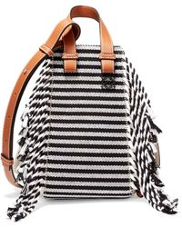 Loewe - Hammock Small Fringed Canvas And Leather Shoulder Bag - Lyst
