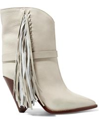 Isabel Marant - Loffen Fringed Leather Ankle Boots - Lyst