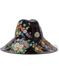 Gucci - Embroidered Patent Textured-leather Hat - Lyst