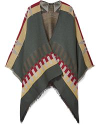 Etro - Fringed Wool-blend Jacquard Cape - Lyst