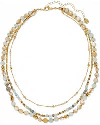Chan Luu - Gold-plated, Amazonite And Bead Necklace Gold One Size - Lyst