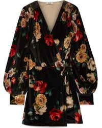 Attico - Floral-print Velvet Mini Wrap Dress - Lyst