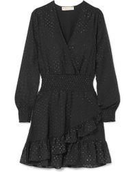 MICHAEL Michael Kors | Wrap-effect Ruffled Fil Coupé Georgette Mini Dress | Lyst