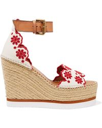 111ac29dfdc See By Chloé - Embroidered Laser-cut Suede And Leather Espadrille Wedge  Sandals - Lyst