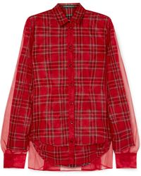 Y. Project - Chiffon Layered Plaid Shirt - Lyst