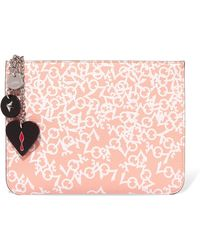Christian Louboutin - Loubicute Embellished Printed Leather Clutch - Lyst