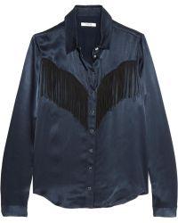 Ganni - Donnelly Fringed Satin Shirt - Lyst