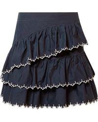 Ulla Johnson - Ella Embroidered Ruffled Cotton-poplin Mini Skirt - Lyst