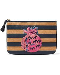 Draper James - Embroidered Crocheted Straw Pouch - Lyst