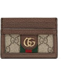 Ophidia Textured Leather-trimmed Printed Coated-canvas Cardholder - Beige Gucci YwOC6L9GP