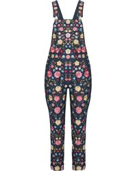 Needle & Thread - Flower Foliage Embroidered Denim Overalls - Lyst