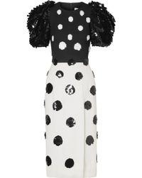 Carolina Herrera - Sequin-embellished Crepe Midi Dress - Lyst