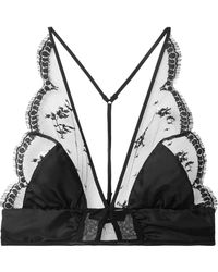 Kiki de Montparnasse - Embroidered Tulle And Stretch Silk-satin Soft-cup Bralette - Lyst