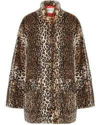 Sandy Liang - Quincy Faux Shearling-trimmed Leopard-print Faux Fur Coat - Lyst