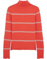 Topshop Unique - Margot Striped Stretch-knit Turtleneck Top - Lyst