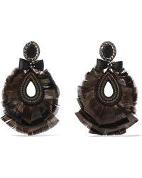 Ranjana Khan - Feather And Crystal Clip Earrings - Lyst