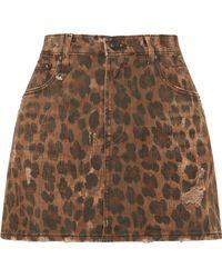R13 - Distressed Leopard-print Denim Mini Skirt - Lyst