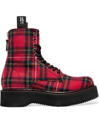 R13 - Tartan Canvas Ankle Boots - Lyst