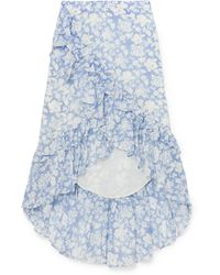 LoveShackFancy - Liza Ruffled Floral-print Cotton And Silk-blend Voile Skirt - Lyst