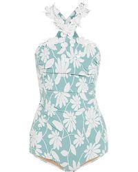 Miu Miu - Embellished Floral-jacquard Bodysuit - Lyst