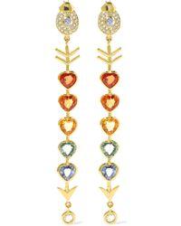 Daniela Villegas - Love Arrow 18-karat Gold, Diamond And Sapphire Earrings - Lyst