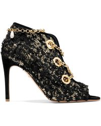 Rupert Sanderson - Nightingale Chain-embellished Frayed Metallic Suede Ankle Boots - Lyst