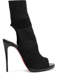 Christian Louboutin - Cheminene 120 Cutout Stretch-knit Sock Boots - Lyst