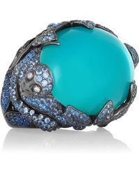 Lydia Courteille - 18-karat Blackened White Gold Multi-stone Ring - Lyst