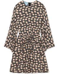 Prada - Ruffled Printed Silk Crepe De Chine Mini Dress - Lyst