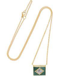 Brooke Gregson - Kite Halo 18-karat Gold, Diamond And Enamel Necklace - Lyst
