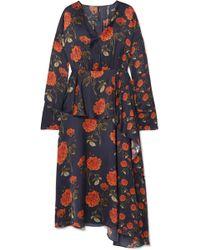 Mother Of Pearl - Ruffled Printed Satin Midi Dress - Lyst