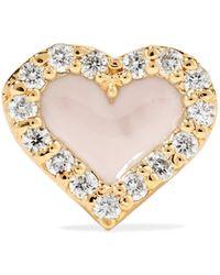 Alison Lou - Heart 14-karat Gold, Diamond And Enamel Earring - Lyst
