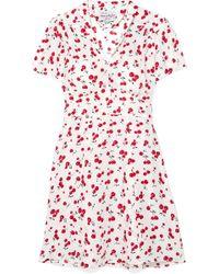 HVN - Mini Morgan Printed Silk Crepe De Chine Dress - Lyst