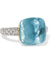 Pomellato - Nudo 18-karat White Gold, Topaz And Diamond Ring - Lyst