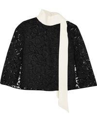 Valentino - Cape-effect Crepe-trimmed Corded Lace Top - Lyst