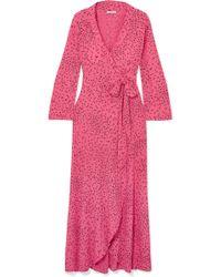 Ganni - Barra Printed Crepe De Chine Wrap Maxi Dress - Lyst
