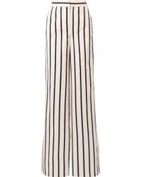 Veronica Beard - Xena Striped Cotton Wide-leg Trousers - Lyst