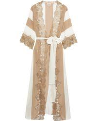Rosamosario - Emiro Love Metallic Lace-trimmed Crepe De Chine Robe - Lyst 309bb91e8