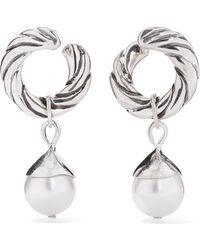 Sophie Buhai - Velasquez Silver Faux Pearl Hoop Earrings - Lyst