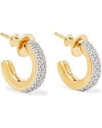 Monica Vinader - Fiji Mini Gold Vermeil Diamond Hoop Earrings - Lyst