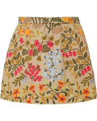 RED Valentino - Embroidered Cotton-twill Shorts - Lyst