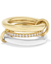 Spinelli Kilcollin - Set Of Three 18-karat Gold, Sterling Silver And Diamond Rings - Lyst